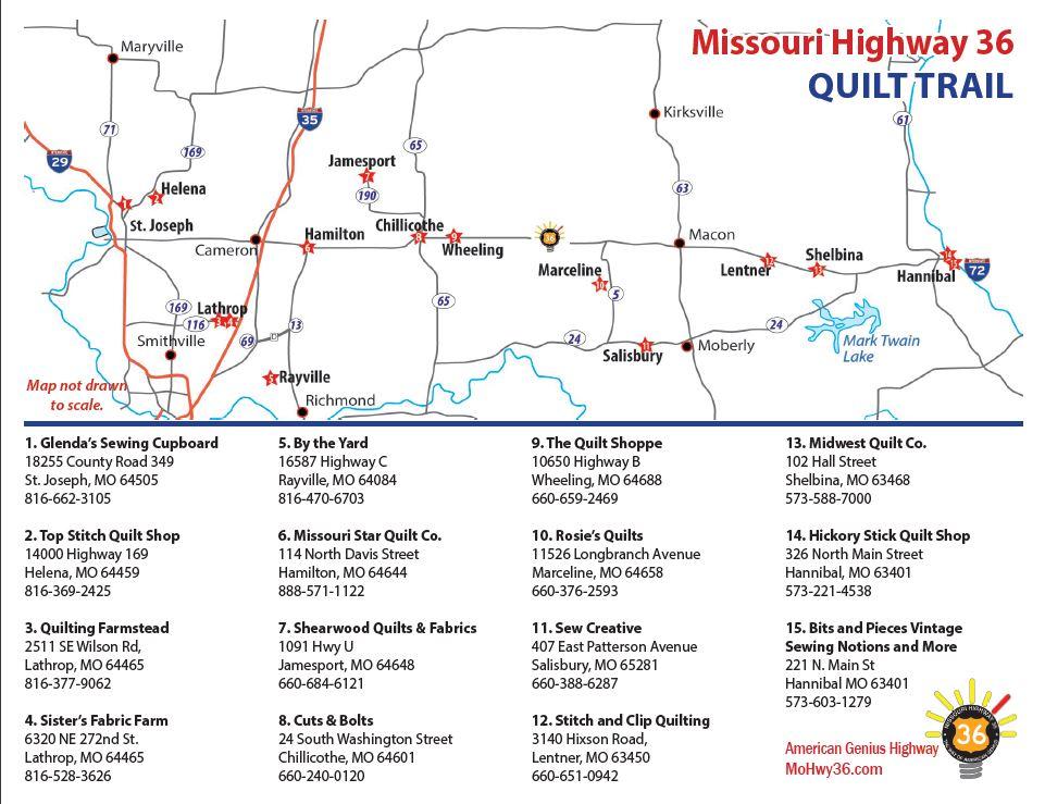 2019 quilt map - Missouri Highway 36 on