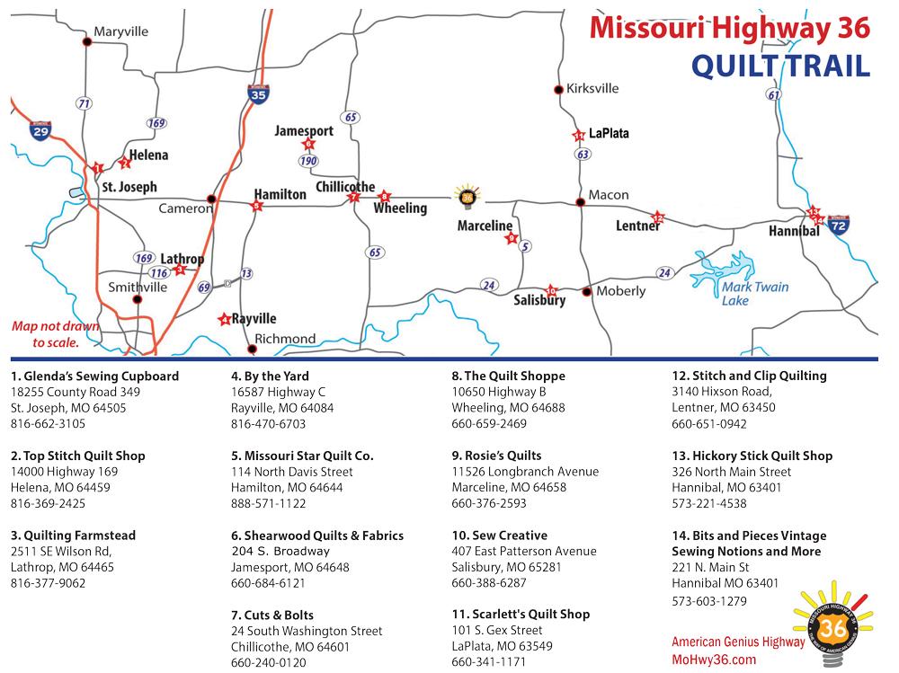 2021 Missouri Highway 36 Quilt Trail Map